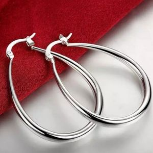 NEW STERLING SILVER OVAL HOOP EARRINGS